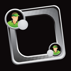golfer tilted silver web icon