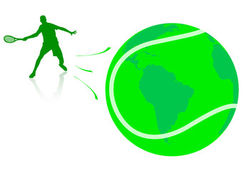 Conceptual illustration with tennis player and globe