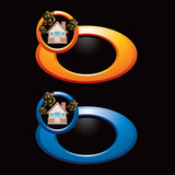 home investment orange and blue round banners poster