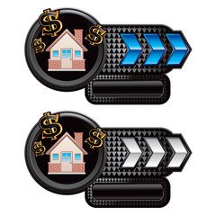 home investment blue and white arrow nameplates