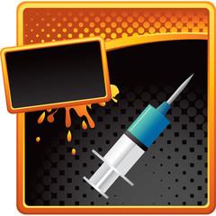 syringe orange and black halftone splattered ad