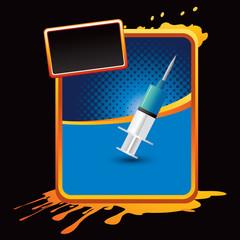 syringe blue halftone grungy ad