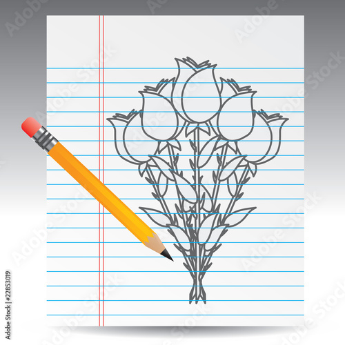 Rose Bouquet Drawing Rose Bouquet Drawing With