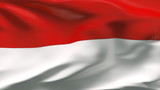 Creased Indonesia satin flag in wind with seams and wrinkle poster