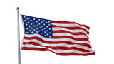 Creased American flag in wind with alpha channel poster