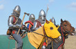 Horse knights, armed with swords and the axes