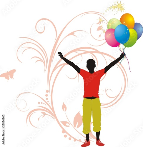 poster of Masculine silhouette with colorful balloons. Vector