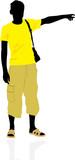 Tourist. Masculine silhouette. Vector poster