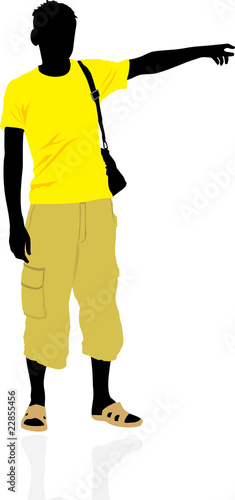 poster of Tourist. Masculine silhouette. Vector
