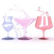 3 verschiedenfarbige Gläser