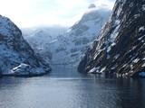 Fototapety Trollfjord in Norwegen im Winter