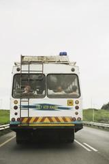 Rear view of bus transportation