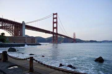 Golden Gate Bridge low angle perspective