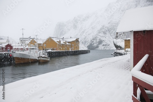 Fishing harbour in Nusfjord, Flakstadoya. Loftofen Archipelago, Norway
