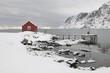 Remote house in coastal landscape,Skjelfjord, Flakstadoya,  Loftofen, Norway