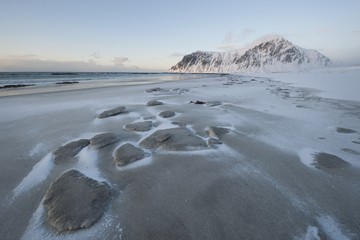 Salt residue on beach on Flakstadoya island, Loftofen, Norway