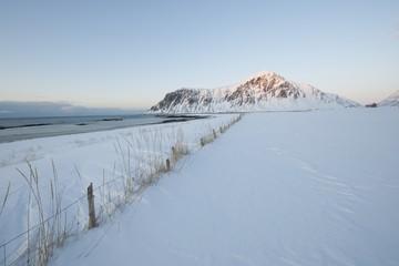 Coastal landscape on Flakstadoya island, Loftofen, Norway