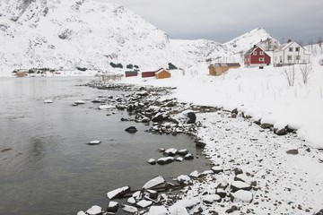 Village in coastal landscape, Skjelfjord, Flakstadoya, Loftofen, Norway