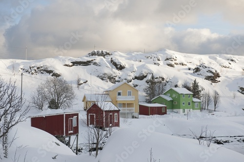 Hill village of Sund on  Flakstadoya, Loftofen, Norway