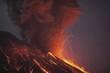 Molten lava erupting from Sakurajima, Kagoshima, Japan