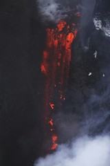 Molten lava flowing from Eyjafjallajokull, Fimmvorduhals, Iceland