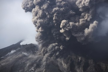 Cloud of volcanic ash from Sakurajima, Kagoshima, Japan