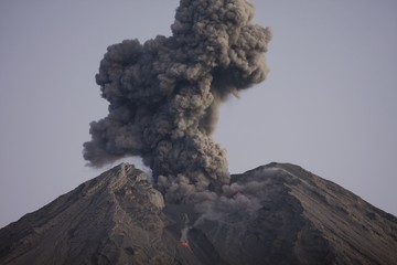 Cloud of volcanic ash from Semeru, Java, Indonesia
