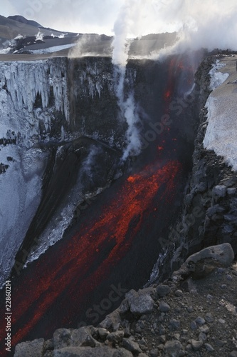 Molten lava and smoke of Eyjafjallajokull, Fimmvorduhals, Iceland