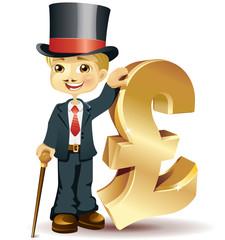 Englishman with a pound symbol