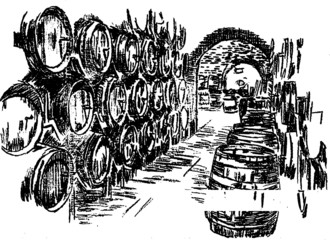 Wine and barrel. Hand pencil sketch.