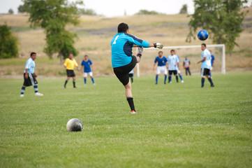 goalie kicks the ball