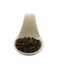 Spoon whit black pepper, isolated