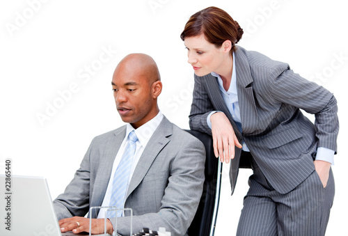 Business partners looking at the computer