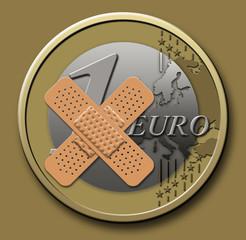 Euro mit Pflaster