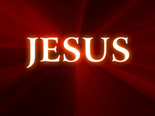 Jesus text on red background