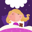 roleta: Sleeping and dreaming girl in pink pyjama. VECTOR