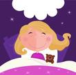 roleta: Sleeping and dreaming girl in pink pyjama. VECTOR