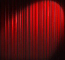 Deep Red Curtain With Spot