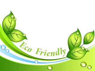 Eco-friendly background with leaves and waterdrops