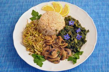 Piatto misto vegetariano, riso, germogli, funghi, e borraggine
