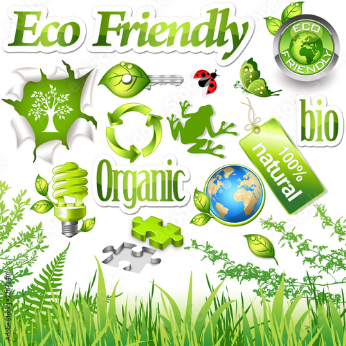Environmental design elements and green icons (set 1)