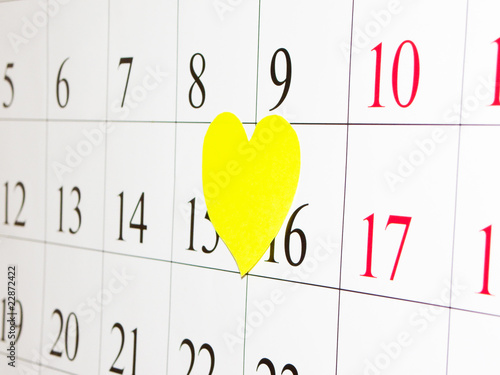 Calendar and yellow heart