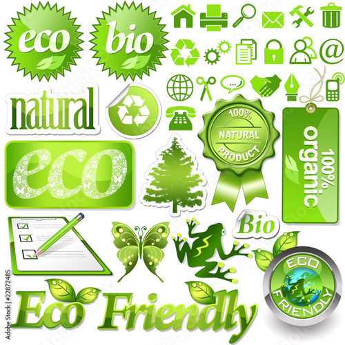 Environmental design elements and green icons (set 2)