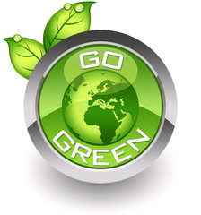 ''Go green'' glossy icon