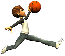 kid boy basketball jump fly
