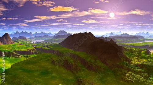 Fototapeten,3d,landschaft,sonne,himmel