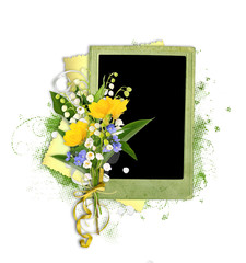 green beautiful frame with lily of the valley