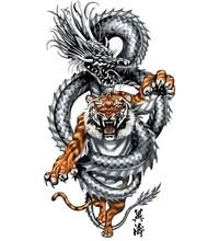 Tatuaż smoka z tygrysem skręcać plemiennych, wektor