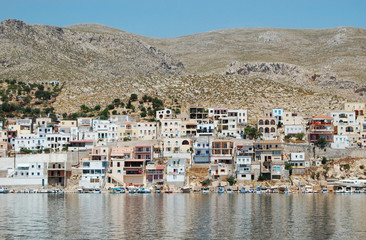 The harbour of the Greek island of Kalymnos, the sponge diving c