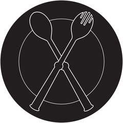 plateful, fork and spoon silhouette vector